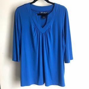 Susan Graver 3/4 Sleeve Blue Blouse